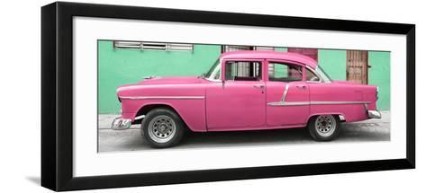 Cuba Fuerte Collection Panoramic - Classic American Pink Car in Havana-Philippe Hugonnard-Framed Art Print