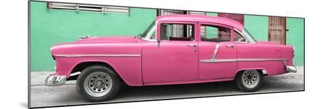Cuba Fuerte Collection Panoramic - Classic American Pink Car in Havana-Philippe Hugonnard-Mounted Photographic Print
