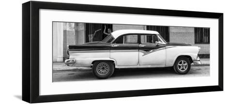 Cuba Fuerte Collection Panoramic BW - American Classic Car in Havana II-Philippe Hugonnard-Framed Art Print