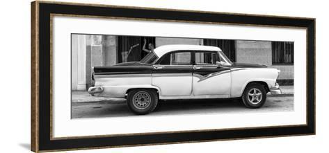 Cuba Fuerte Collection Panoramic BW - American Classic Car in Havana II-Philippe Hugonnard-Framed Art Print