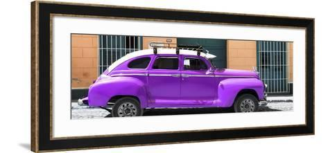 Cuba Fuerte Collection Panoramic - Purple Vintage Car-Philippe Hugonnard-Framed Art Print