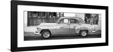 Cuba Fuerte Collection Panoramic BW - Havana Club and Classic Car-Philippe Hugonnard-Framed Art Print