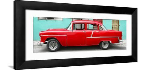 Cuba Fuerte Collection Panoramic - Classic American Red Car in Havana-Philippe Hugonnard-Framed Art Print