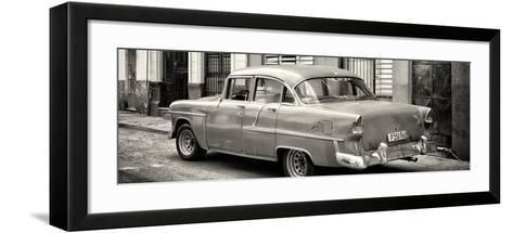 Cuba Fuerte Collection Panoramic BW - Cuban Classic Car in Havana III-Philippe Hugonnard-Framed Art Print