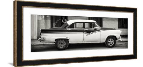 Cuba Fuerte Collection Panoramic BW - American Classic Car in Havana-Philippe Hugonnard-Framed Art Print