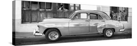 Cuba Fuerte Collection Panoramic BW - Havana Club and Classic Car-Philippe Hugonnard-Stretched Canvas Print