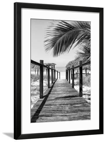 Cuba Fuerte Collection B&W - Wooden Pier on Tropical Beach IX-Philippe Hugonnard-Framed Art Print