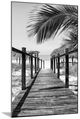 Cuba Fuerte Collection B&W - Wooden Pier on Tropical Beach IX-Philippe Hugonnard-Mounted Photographic Print