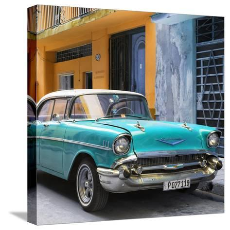 Cuba Fuerte Collection SQ - Turquoise Chevrolet Cuban-Philippe Hugonnard-Stretched Canvas Print