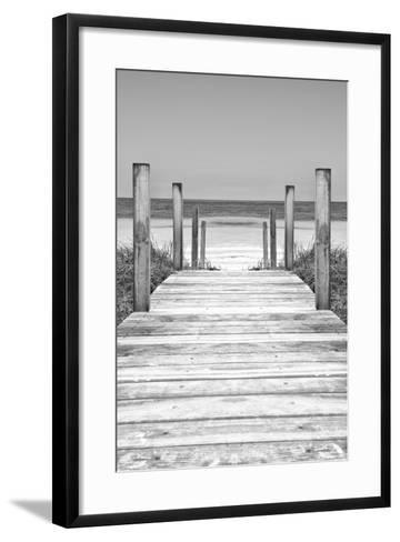 Cuba Fuerte Collection B&W - Wooden Pier on Tropical Beach X-Philippe Hugonnard-Framed Art Print