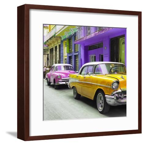 Cuba Fuerte Collection SQ - Old Cars Chevrolet Yellow and Pink-Philippe Hugonnard-Framed Art Print