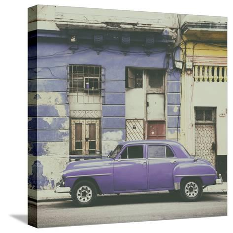 Cuba Fuerte Collection SQ - Purple Vintage American Car in Havana-Philippe Hugonnard-Stretched Canvas Print