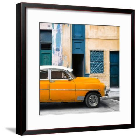 Cuba Fuerte Collection SQ - Havana's Orange Vintage Car-Philippe Hugonnard-Framed Art Print