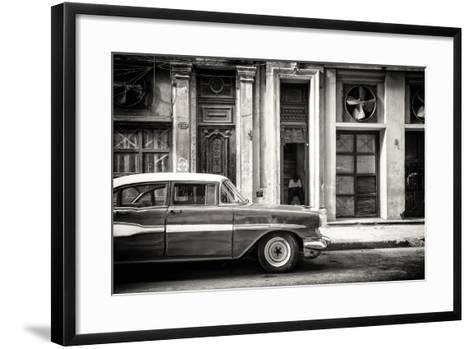 Cuba Fuerte Collection B&W - Classic Car in Central Havana Street-Philippe Hugonnard-Framed Art Print