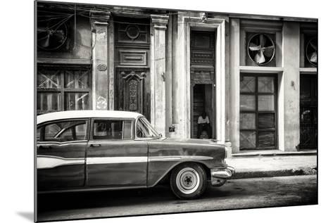 Cuba Fuerte Collection B&W - Classic Car in Central Havana Street-Philippe Hugonnard-Mounted Photographic Print