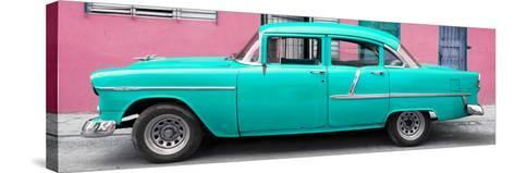Cuba Fuerte Collection Panoramic - Classic American Turquoise Car in Havana-Philippe Hugonnard-Stretched Canvas Print