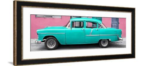 Cuba Fuerte Collection Panoramic - Classic American Turquoise Car in Havana-Philippe Hugonnard-Framed Art Print