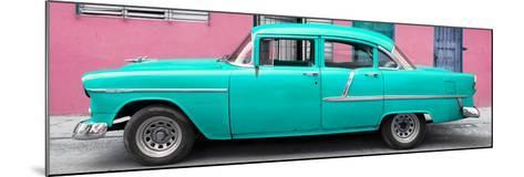 Cuba Fuerte Collection Panoramic - Classic American Turquoise Car in Havana-Philippe Hugonnard-Mounted Photographic Print