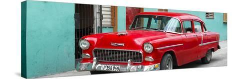 Cuba Fuerte Collection Panoramic - Beautiful Classic American Red Car-Philippe Hugonnard-Stretched Canvas Print