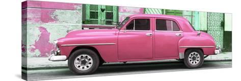 Cuba Fuerte Collection Panoramic - Pink Classic American Car-Philippe Hugonnard-Stretched Canvas Print