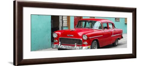Cuba Fuerte Collection Panoramic - Beautiful Classic American Red Car-Philippe Hugonnard-Framed Art Print