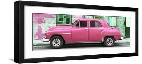 Cuba Fuerte Collection Panoramic - Pink Classic American Car-Philippe Hugonnard-Framed Art Print