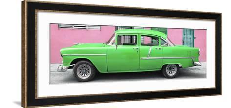 Cuba Fuerte Collection Panoramic - Classic American Green Car in Havana-Philippe Hugonnard-Framed Art Print