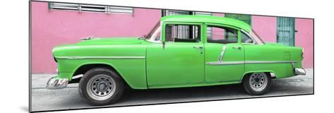 Cuba Fuerte Collection Panoramic - Classic American Green Car in Havana-Philippe Hugonnard-Mounted Photographic Print