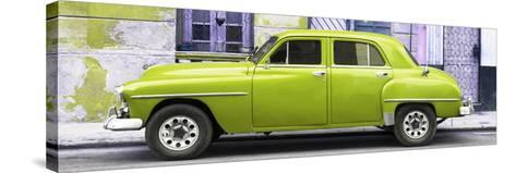 Cuba Fuerte Collection Panoramic - Lime Green Classic American Car-Philippe Hugonnard-Stretched Canvas Print