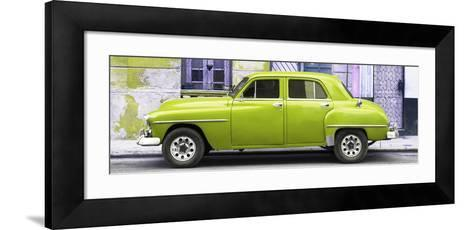 Cuba Fuerte Collection Panoramic - Lime Green Classic American Car-Philippe Hugonnard-Framed Art Print