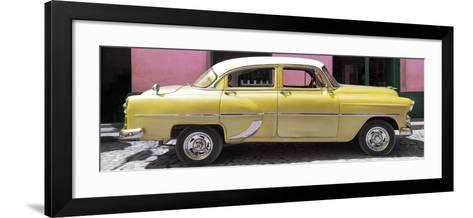 Cuba Fuerte Collection Panoramic - Retro Yellow Car-Philippe Hugonnard-Framed Art Print