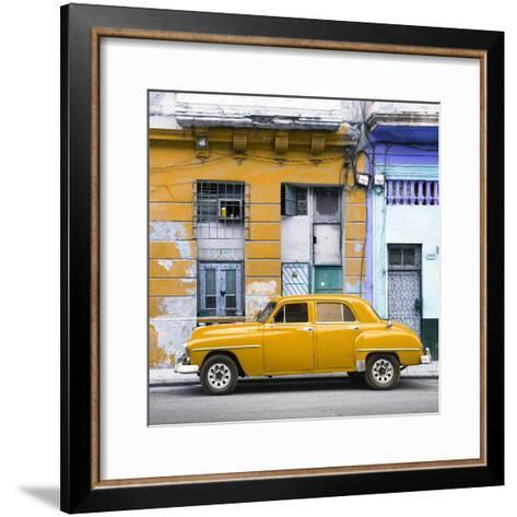 Cuba Fuerte Collection SQ - Yellow Vintage American Car in Havana-Philippe Hugonnard-Framed Art Print
