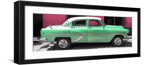 Cuba Fuerte Collection Panoramic - Retro Green Car-Philippe Hugonnard-Framed Art Print