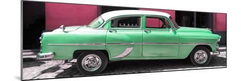 Cuba Fuerte Collection Panoramic - Retro Green Car-Philippe Hugonnard-Mounted Photographic Print