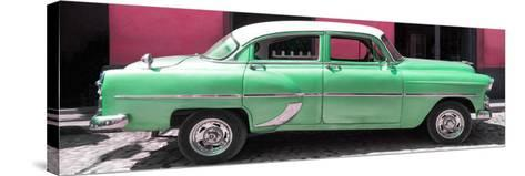 Cuba Fuerte Collection Panoramic - Retro Green Car-Philippe Hugonnard-Stretched Canvas Print