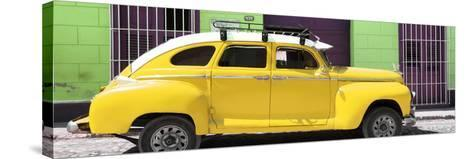 Cuba Fuerte Collection Panoramic - Yellow Vintage Car-Philippe Hugonnard-Stretched Canvas Print