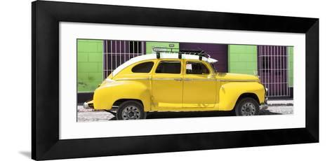 Cuba Fuerte Collection Panoramic - Yellow Vintage Car-Philippe Hugonnard-Framed Art Print