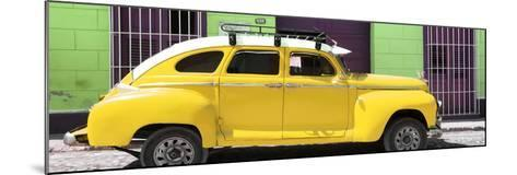 Cuba Fuerte Collection Panoramic - Yellow Vintage Car-Philippe Hugonnard-Mounted Photographic Print