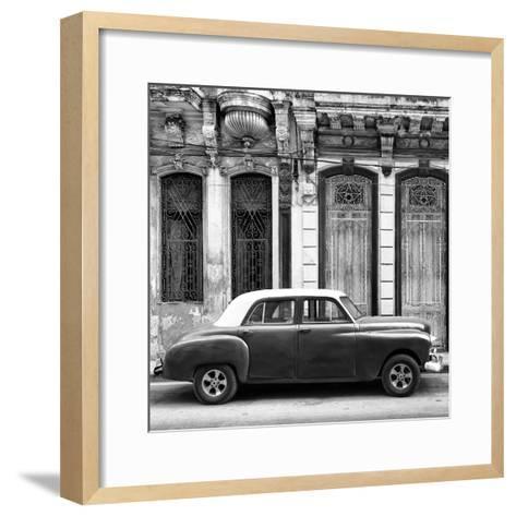 Cuba Fuerte Collection SQ BW - Vintage Car in Havana-Philippe Hugonnard-Framed Art Print