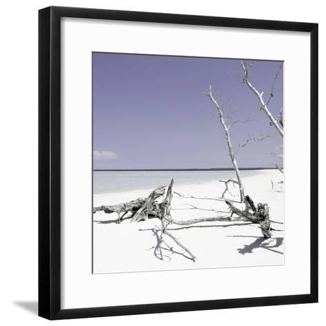 Cuba Fuerte Collection SQ - Wild White Sand Beach - Pastel Purple-Philippe Hugonnard-Framed Art Print