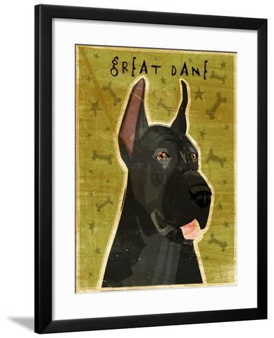 Great Dane Black-John W Golden-Framed Art Print
