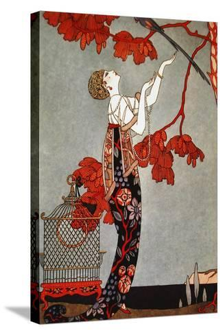 1914 Oriental Red, George Barbier-Vintage Apple Collection-Stretched Canvas Print