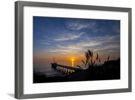 Pierfect Sunset Silhouette-Chris Moyer-Framed Art Print