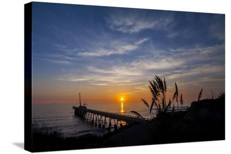 Pierfect Sunset Silhouette-Chris Moyer-Stretched Canvas Print