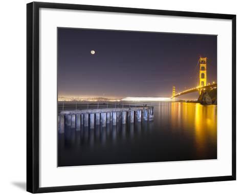 Golden Gate Pier and Stars-Moises Levy-Framed Art Print