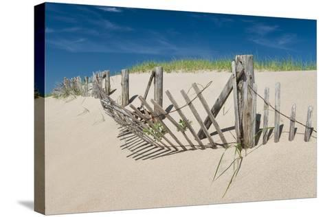 Worn Beach Fence-Michael Blanchette Photography-Stretched Canvas Print