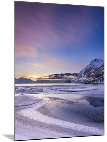 Haukland Sunset - Vertical-Michael Blanchette Photography-Mounted Photographic Print