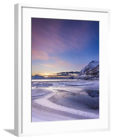 Haukland Sunset - Vertical-Michael Blanchette Photography-Framed Art Print
