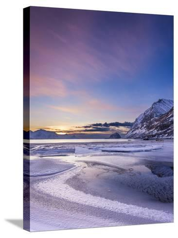 Haukland Sunset - Vertical-Michael Blanchette Photography-Stretched Canvas Print