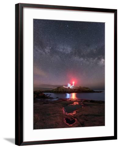 Nubble Night - Vertical-Michael Blanchette Photography-Framed Art Print